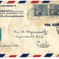 Sellos: ESTADOS UNIDOS. 1941 CARTA VOLADA DE ESTADOS UNIDOS A CALI. Lote 87412692