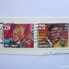 Sellos: 2 SELLOS DE BILL HALEY Y CLYDE MCPHATTER. USA. Lote 100522783