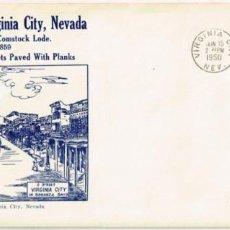 Sellos: BONANZA: SOBRE FILATELICO Y SELLO DE 3 CTS. 1950. CON IMAGEN DE VIRGINIA CITY, NEVADA, EN 1859. Lote 100750683