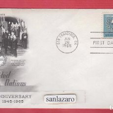 Sellos: SOBRE FIRST DAY OF USSE 20TH ANNIVERSARY UNITED NATIONS 1945-1965 ART CRAFT SELLO 5 CENTS. SO13. Lote 101062851