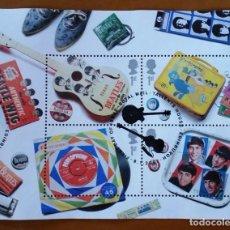 Sellos: GRAN BRETAÑA 2007 HB LOS BEATLES M/S USADO SG MS2692 YV BF2833-36. Lote 112181207
