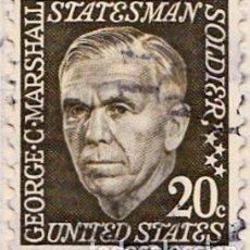Sellos: 1967 - ESTADOS UNIDOS - U.S.A. - AMERICANOS CELEBRES - GEORGE C.MARSHALL - YVERT 822. Lote 118914031