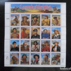 Sellos: HOJA BLOQUE DE 20 SELLOS - USA - LEGENDS OF THE WEST - 1993. Lote 131197680