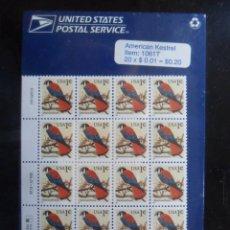 Sellos: BLOQUE DE 20 SELLOS - USA - AMERICAN KESTREL - 1991. Lote 131197988