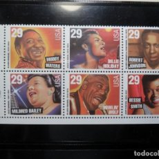 Sellos: 6 SELLOS - USA - LEYENDAS DE LA MUSICA AMERICANA - BLUES Y JAZZ. Lote 131208336