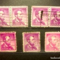 Sellos: EEUU 1954, LINCOLN, DIFERENTES DENTADO Y TONOS, YT 589. Lote 142093510