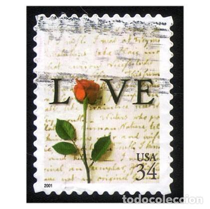 ESTADOS UNIDOS 2001. MI 3432BDR. LOVE. AMOR. ROSA. USADO (Sellos - Extranjero - América - Estados Unidos)