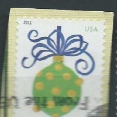 Sellos: ESTADOS UNIDOS 2011 HOLIDAY BAUBLES GREEN AND YELLOW F SC 4574 YV 4426A . Lote 142934262