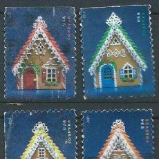 Sellos: ESTADOS UNIDOS 2013 GINGERBREAD HOUSES SET DE 4V USADOS SC 4817-20 YV 4642-45. Lote 143940770