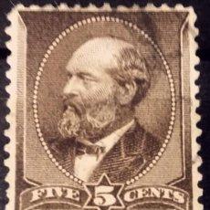 Sellos: ESTADOS UNIDOS. 1882, JAMES A. GARFIELD. 5 CENTS. MARRÓN AMARILLENTO (Nº 61 YVERT).. Lote 144166950