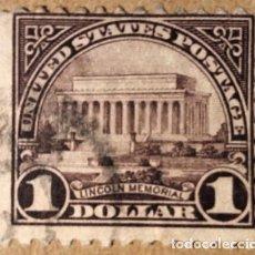 Sellos: ESTADOS UNIDOS. 1923, MEMORIAL LINCOLN, 1 $ MARRÓN VIOLETA (Nº 246 YVERT).. Lote 144226342