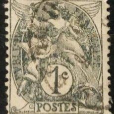 Sellos: FRANCIA. 1900, ALEGORÍA DE LA REPÚBLICA. 1 C. PIZARRA (Nº 107A YVERT).. Lote 144291270