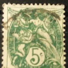 Sellos: FRANCIA. 1900, ALEGORÍA DE LA REPÚBLICA. 5 C. VERDE AZULADO (Nº 111 YVERT).. Lote 144291866