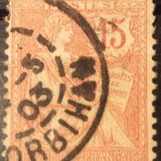 Sellos: FRANCIA. 1902, ALEGORÍA DE LA REPÚBLICA. 15 C. ROJO NARANJA (Nº 125 YVERT).. Lote 144293190