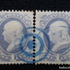 Sellos: 2 SELLOS UNITED STATES AMERICA POSTAGE. FRANKLIN 1 CENT. AÑO 1870. SIN USAR. Lote 146027362