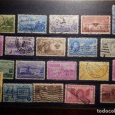 Selos: LOTE DE 20 ANTIGUOS SELLOS DIFERENTES USADOS DE EEUU - USA - MONTADOS EN FICHA DE 21 X 15 CM.. Lote 155542722