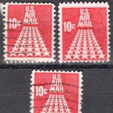 Sellos: USA-EE.UU. - TRES SELLOS - IVERT #PA69 - ***CORREO AEREO 1968-1973*** - AÑO 1968 - USADOS. Lote 156525522
