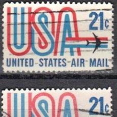 Sellos: USA-EE.UU. - DOS SELLOS - IVERT #PA72 - ***CORREO AEREO 1968-1973*** - AÑO 1971 - USADOS. Lote 156526806