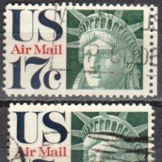 Sellos: USA-EE.UU. - DOS SELLOS - IVERT #PA76 - ***CORREO AEREO 1968-1973*** - AÑO 1971 - USADOS. Lote 156527646