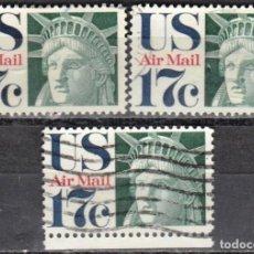 Sellos: USA-EE.UU. - TRES SELLOS - IVERT #PA76 - ***CORREO AEREO 1968-1973*** - AÑO 1971 - USADOS. Lote 156527858