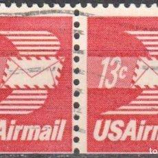Sellos: USA-EE.UU. - DOS SELLOS - IVERT #PA80A - ***CORREO AEREO 1968-1973*** - AÑO 1973 - USADOS. Lote 156529430