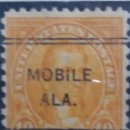 Sellos: UNITED STATES, JAMES MONROE 10 CENTS, AÑO 1923,. Lote 160519626