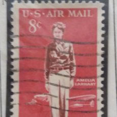 Sellos: UNITED STATES, AIR MAIL AMELIA EARHART, 8 CENTS, AÑO 1963.. Lote 161492554