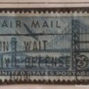 Sellos: UNITED STATES, AIR MAIL, 25 CENTS, AÑO 1946.. Lote 161497246