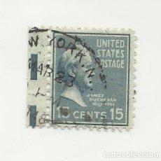 Sellos: SELLO UNITED STATES OF AMERICA. JAMES BUCHANAN 15 C. MATASELLOS DE NEW YORK. Lote 165800102