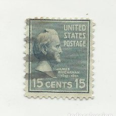 Sellos: SELLO UNITED STATES OF AMERICA. JAMES BUCHANAN 15 C. MATASELLOS DE NEW YORK. Lote 165800262
