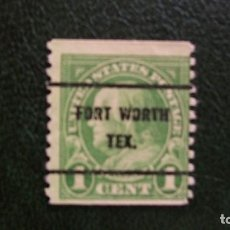 Sellos: ESTADOS UNIDOS-1922-1C.PREMATASELLADO-FORT WORTH / TEXAS. Lote 166020394