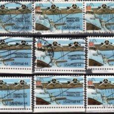 Sellos: USA / ESTADOS UNIDOS - 9 SELLOS - IT:PA109 - PIONEROS DE LA AVIACION (AÑO 1985) - USADOS. Lote 167100620
