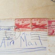 Sellos: SELLOS AIR MAIL Y U.S. POSTAGE 1954. USADOS DESDE FRESNO, CALIFORNIA. Lote 171443973