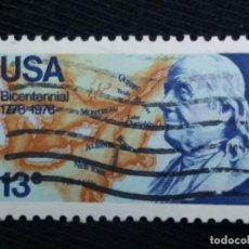 Sellos: UNITED STATES, 13 CENTS, BICENTENNIAL FRANKLIN, AÑO 1977.. Lote 171705300