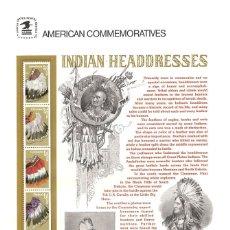 Sellos: USA 1990 COMMEMORATIVE PANEL 353 INDIAN HEADDRESSES . Lote 176098612