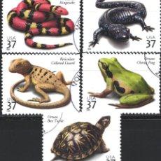 Sellos: ESTADOS UNIDOS, 2003 YVERT Nº 3506 / 3510, FAUNA, REPTILES, . Lote 179341416