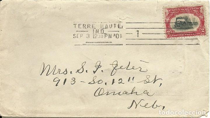 SOBRE CIRCULADO ESTADOS UNIDOS IVERT 138 , DEL 1901 , TEMATICA FERROCARRILES (Sellos - Extranjero - América - Estados Unidos)