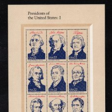 Sellos: ESTADOS UNIDOS HB 16/19** - AÑO 1986 - PRESIDENTES DE ESTADOS UNIDOS - AMERIPEX 86. Lote 185905260