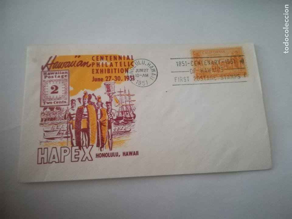 SOBRE PRIMER DIA. CENTENNIAL PHILATELIC EXHIBITION. 1951. HAPEX. HONOLULU, HAWAII. VER (Sellos - Extranjero - América - Estados Unidos)