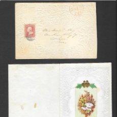 Sellos: AÑO 1861 SOBRE CON INVITACION DE BODA CIRCULADO EN NEW HAVEN - IOWA, MATASELLO FECHADOR EN ROJO. Lote 190710072