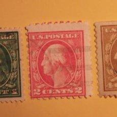 Sellos: ESTADOS UNIDOS - PRESIDENTES - GEORGE WASHINGTON - 3 VALORES.. Lote 191409138