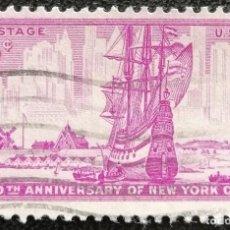 Sellos: 1953. ESTADOS UNIDOS. 578. BERGANTÍN. 300 AÑOS DE LA FUNDACIÓN DE NUEVA YORK. SERIE COMPLETA. USADO.. Lote 194278440