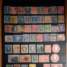 Sellos: COLECCIÓN 55 SELLOS ANTIGUOS DE EEUU - USA - USADOS -MONTADOS EN 2 FICHAS DE 21 X 15 CM . Lote 195922877