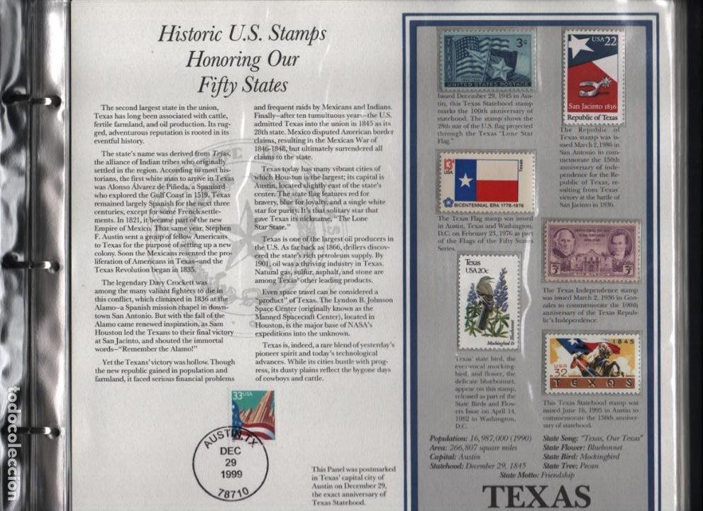 Sellos: ALBUN COMPLETO.- MAS DE 175 SELLOS HISTORICOS- EN HONOR A LOS 50 ESTADOS -TODOS LOS ESTADOS- VER,- - Foto 4 - 198951807