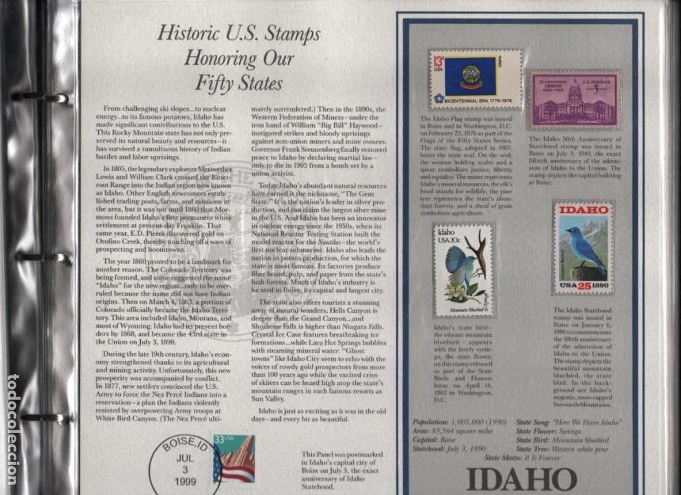 Sellos: ALBUN COMPLETO.- MAS DE 175 SELLOS HISTORICOS- EN HONOR A LOS 50 ESTADOS -TODOS LOS ESTADOS- VER,- - Foto 8 - 198951807