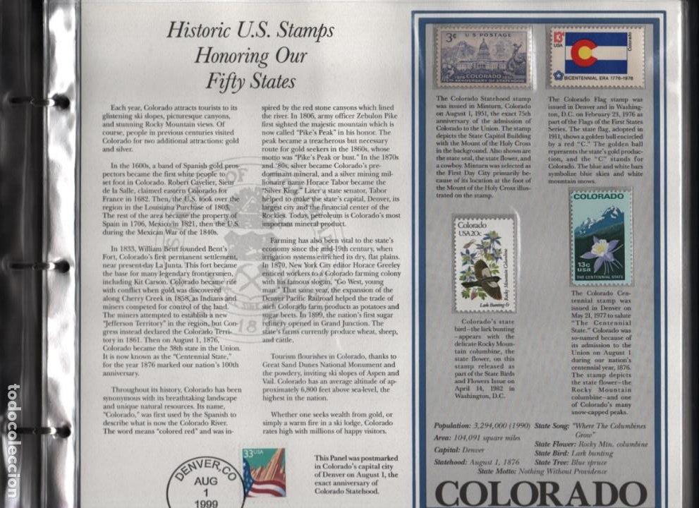 Sellos: ALBUN COMPLETO.- MAS DE 175 SELLOS HISTORICOS- EN HONOR A LOS 50 ESTADOS -TODOS LOS ESTADOS- VER,- - Foto 14 - 198951807
