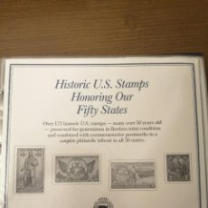 Sellos: HISTORIC U.S. STAMPS -HONORING OUR FIFTY STATES- ALBUM COMPLETO 50 STATES , VER FOTOS. Lote 208993645