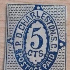 Sellos: SELLO P.D.CHARLESTON.S.C. 5 CTS.ESTADOS CONFEDERADOS DE AMERICA, ESTADOS UNIDOS, AÑO 1861. Lote 209813745
