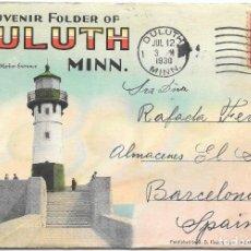 Sellos: SOUVENIR FOLDER DULUTH MINNESOTA EEUU. CIRCULADO DE DULUTH A BARCELONA 1930. Lote 210476296