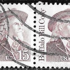 Sellos: ESTADOS UNIDOS 1988. BUFFALO BILL CODY, 1846-1917. EXPLORADOR. PAREJA DE SELLOS. Lote 211822913